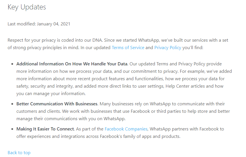 whatsapp privacy policy updated